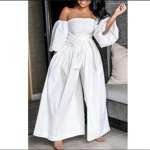Pants - White Wide Leg Jumpsuit size M. Worn once.